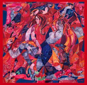 Serithea Silk Scarves - Red Flamenca